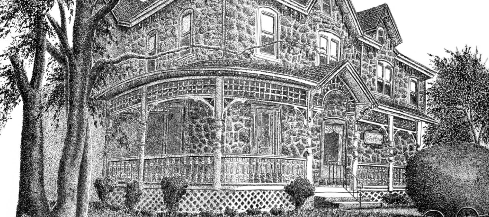 A black and white drawing of a state stone home with large wrap around porch